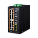 Switch PoE+ Planet IP30 Industrial L2+/L4 16-P
